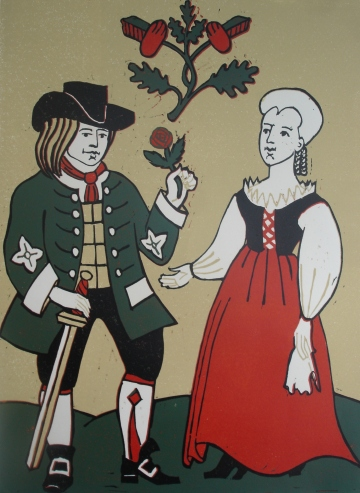 Oaken Folk - reduction lino print