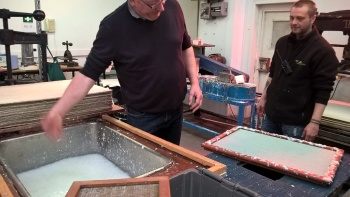 Papermaking Day 11 Al is first to havea go