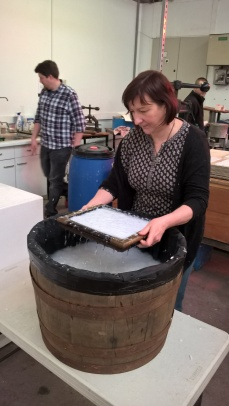 Papermaking Day 20 Vicki lifts